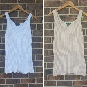 Lauren RL Set of 2 White & Beige Crochet Tank Top